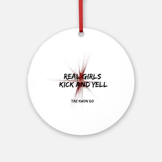 Tae Kwon Do Girls Kick Ornament (Round)