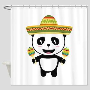 Mexican Panda Fiesta Cotqm Shower Curtain
