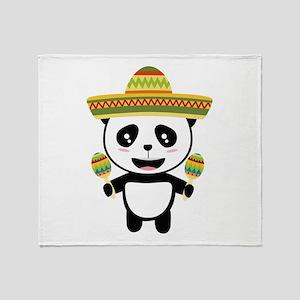 Mexican Panda Fiesta Cotqm Throw Blanket