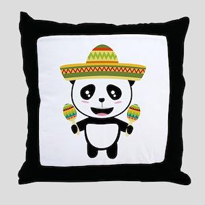Mexican Panda Fiesta Cotqm Throw Pillow