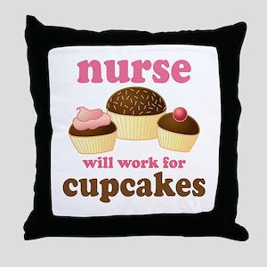 Nurse Gift Cupcakes Throw Pillow