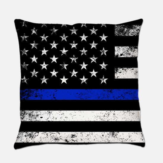 Horizontal style police flag Everyday Pillow