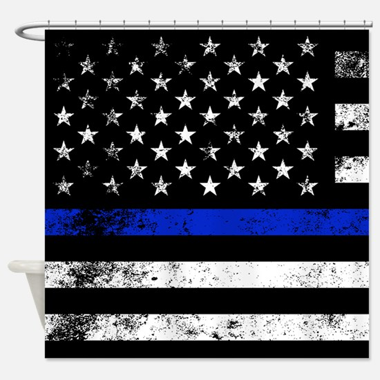 Horizontal style police flag Shower Curtain