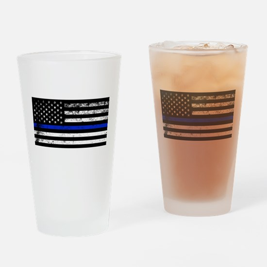 Horizontal style police flag Drinking Glass