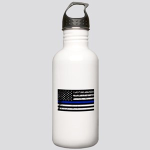 Horizontal style police flag Water Bottle