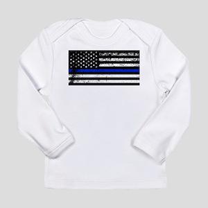 Horizontal style police flag Long Sleeve T-Shirt