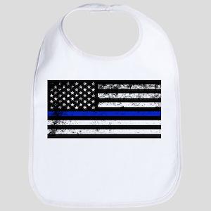 Horizontal style police flag Baby Bib
