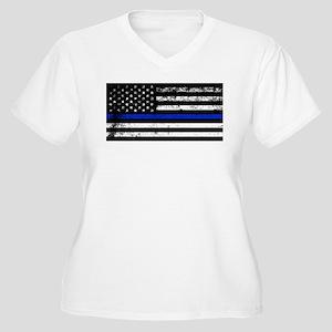 Horizontal style police flag Plus Size T-Shirt