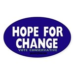 Hope and Change Oval Sticker (10 pk)