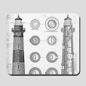 Vintage Bodie Island Lighthouse Diagram Mousepad