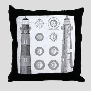 Vintage Bodie Island Lighthouse Diagr Throw Pillow