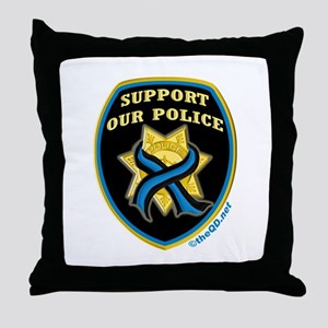 Thin Blue Line Support Police Throw Pillow
