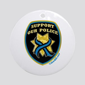 Thin Blue Line Support Police Ornament (Round)
