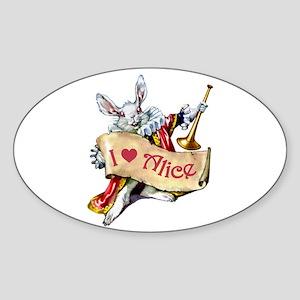 I LOVE ALICE - PINK EYES Oval Sticker