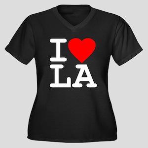 I Love LA Women's Plus Size V-Neck Dark T-Shirt