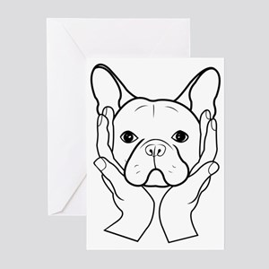 French Bulldog Head in Hands Greeting Cards (Packa