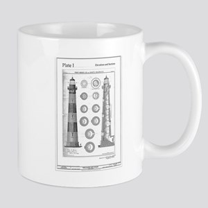 Vintage Bodie Island Lighthouse Diagram Mugs