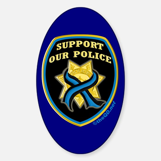 Thin Blue Line Support Police Oval Decal