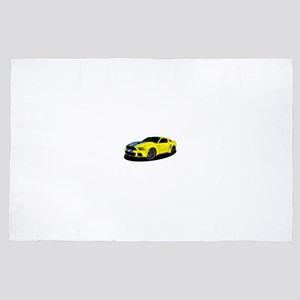 Muscle car yellow 4' x 6' Rug