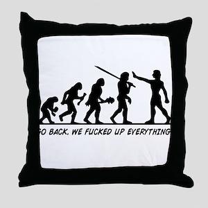 Go Back Evolution Throw Pillow