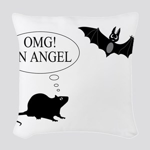Omg An angel Woven Throw Pillow