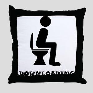 Downloading Throw Pillow