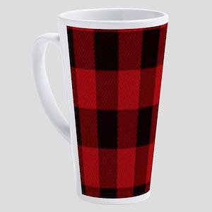 red black plaid 17 oz Latte Mug