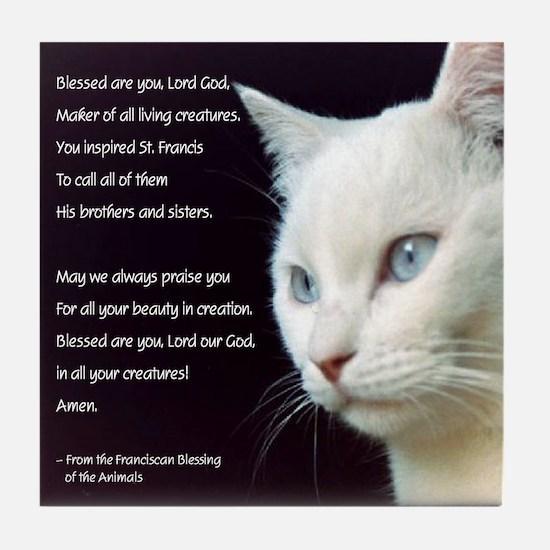 White Cat Blessing Tile