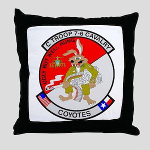 C TROOP 7-6 CAV COYOTES Throw Pillow