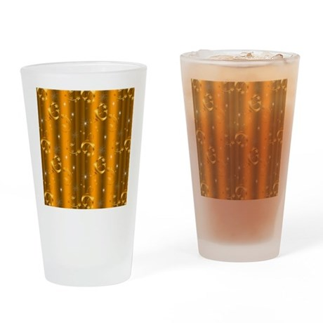 Gold Christmas Swirls Drinking Glass