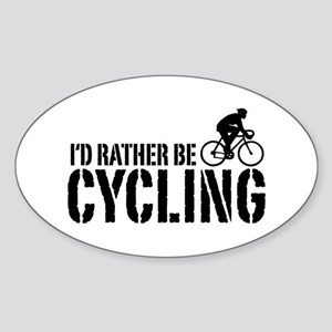 I'd Rather Be Cycling (Male) Oval Sticker