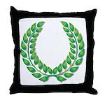 Green Laurel on White Throw Pillow