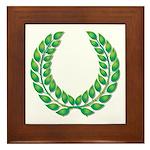 Green Laurel on White Framed Tile