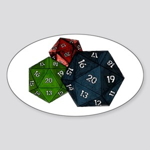 20-sided Dice Oval Sticker