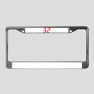 32 thirty-two red alarm clock License Plate Frame