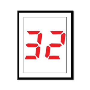 32 thirty-two red alarm clock Framed Panel Print