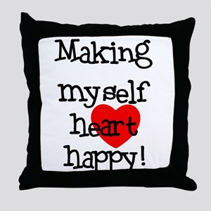 Making Heart Happy Throw Pillow