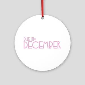 Pink Urban Heart Due December Ornament (Round)