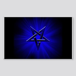 Ominous Blue Inverted Pentagram Sticker (Rectangle