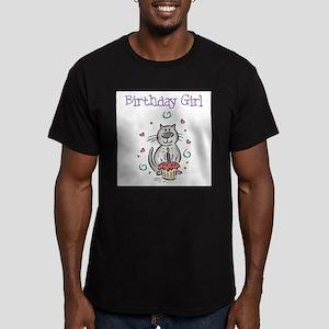 Birthday Girl Cat - Men's Fitted T-Shirt (dark)