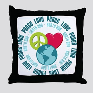 Peace Love Earth Day Throw Pillow