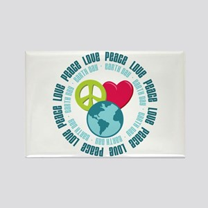 Peace Love Earth Day Rectangle Magnet