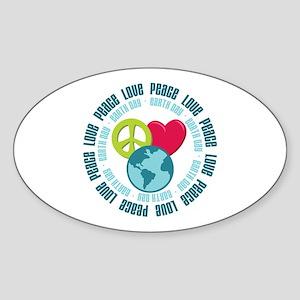 Peace Love Earth Day Oval Sticker