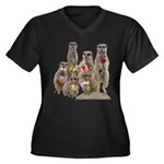Meerkat Women's Plus Size V-Neck Dark T-Shirt