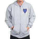Blue Heart Zip Hoodie