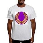 Purple with gold laurel Ash Grey T-Shirt