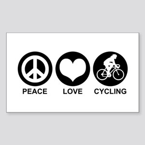 Peace Love Cycling (Female) Rectangle Sticker