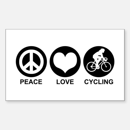 Peace Love Cycling (Female) Rectangle Decal