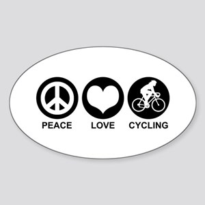 Peace Love Cycling (Female) Oval Sticker