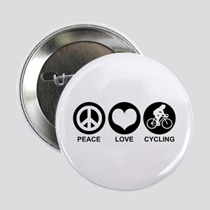 """Peace Love Cycling (Female) 2.25"""" Button"""